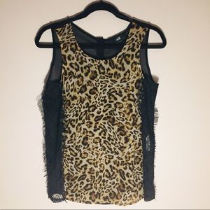 adl Chiffon/Lace Animal Print/Black Sleeveless Top